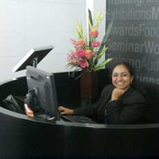 receptionist at her desk